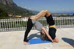 Anna and Stavros at yoga course